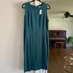LOFT | teal midi sheath dress